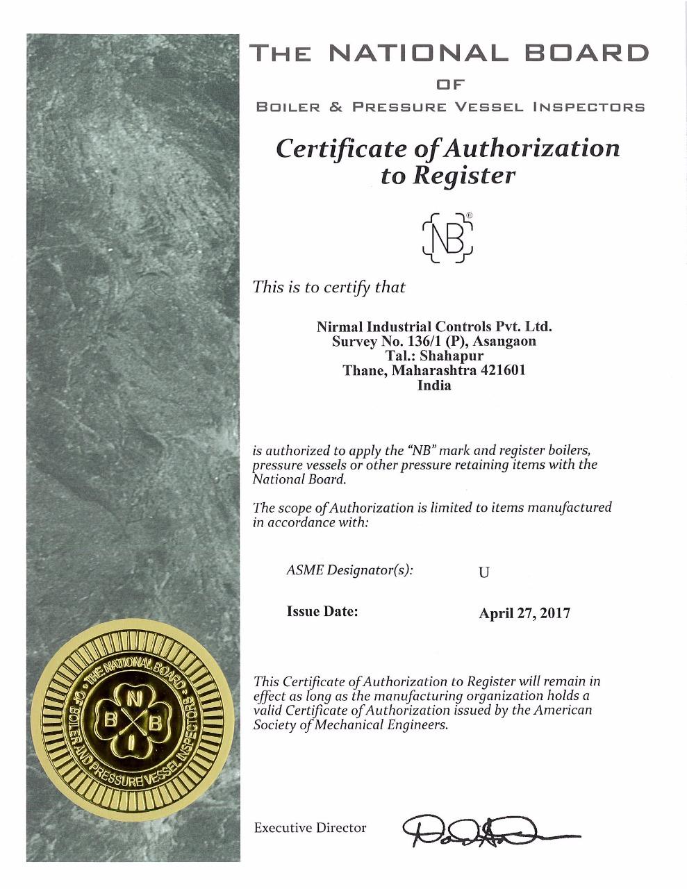 ASME U R Stamp Certification