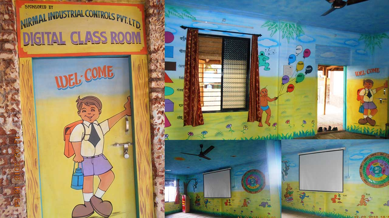 E-Learning Room having facility of PC & Projector is provided in Z. P. School No. 1