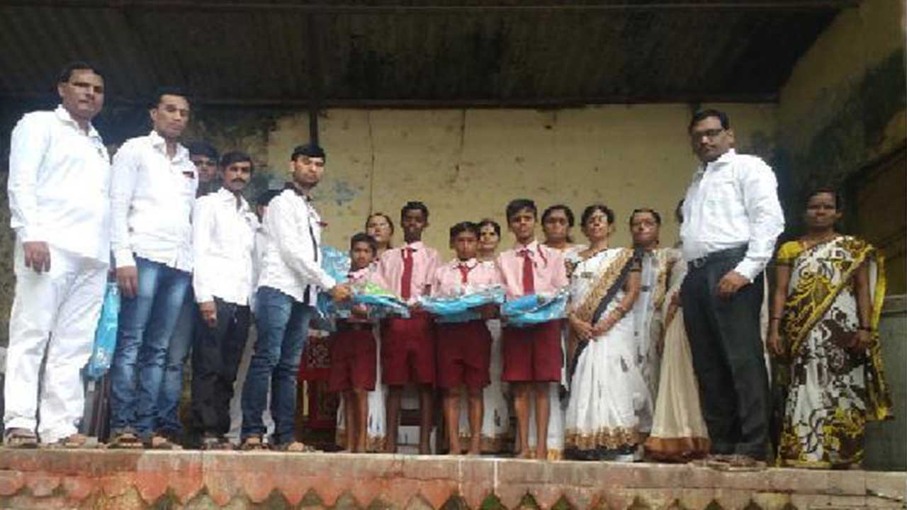 Compass Box with stationery items distribution program held for all students of Z.P. School No. 1 & 2